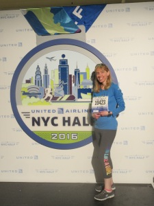 Me with the United Airlines NYC Half Marathon logo - New York, New York