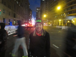Me at then entrance of Central Park, Times Square behind me, on the morning of the United Airlines NYC Half Marathon - New York, New York