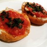 Gluten Free and Vegan Pizza Bagels made with Sweet Note Bakery Gluten Free Tomato Herb Bagels