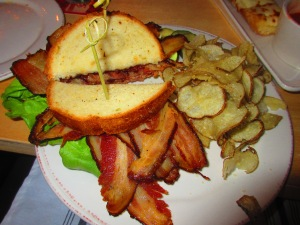 Hops & Fire Stout Pork Belly BLT with a side of Parmesan House Chips
