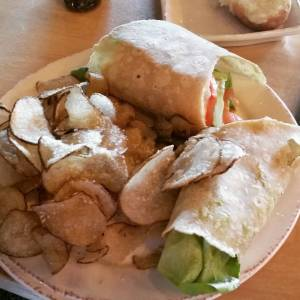 Hops & Fire Gluten Free California Wrap with a mountain of House Chips