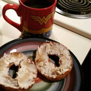 Sweet Note Gluten Free French Toast Bagels with a schmear of Vegan Sweet Maple Cream Cheese and Coffee!!