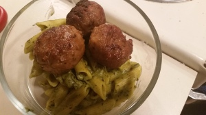 Aldi liveGfree Gluten Free Penne Pasta Meal  (cooked) with Beyond Meat Vegan and Gluten Free Italian Meatballs