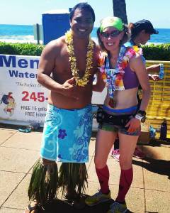 Me with a handsome Hawaiian at the finish of the Kauai Marathon - Kauai - Poipu, HI