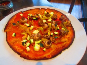 Gluten Free Freestyle Pizza (topped with marinara, summer squash, roasted peppers and mushrooms) from Napolese in Indianapolis, IN