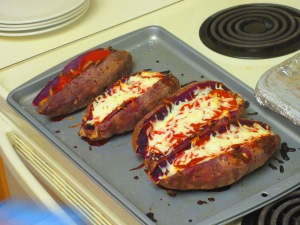 Pizza Stuffed Sweet Potatoes - my pre-race dinner...something new. And delicious.