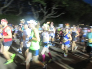 Me crossing the start line of the Kauai Marathon