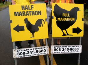 Half Marathon & Marathon Split signs at the Kauai Marathon
