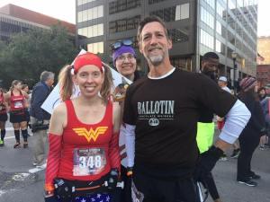 Me and Matt (and Creepy Cathy, HAHA) before the start of the Urban Bourbon Half Marathon (photo courtesy of Dawn Johnson)