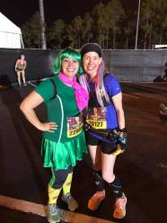 #KDFMarathon Ambassadors collide...Melissa as Disgust (Inside Out) and me as Officer Judy Hopps (Zootopia) at the start of the Disney Wine & Dine Inaugural 10K