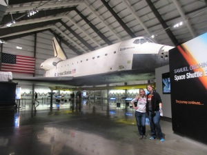 Cathy and I in front of the Space Shuttle Endeavour at the California Science Center