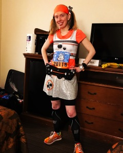My BB-8 running costume, modified for the cold weather (orange shirt underneath) for the Disneyland Light Side Half Marathon