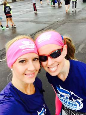 My friend and fellow ambassador, Amy, after the race. We were totally twinning!