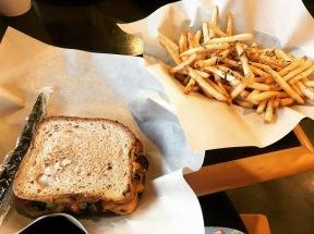 Gluten Free & Vegan Roasted Vegetable Sandwich w/ Truffle Fries