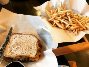 Gluten Free & Vegan Roasted Vegetable Sandwich w/ Truffle Fries